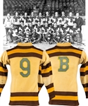 Harry Olivers 1933 Boston Bruins Game-Worn Wool Jersey with LOA - Team Repairs!