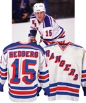 Anders Hedbergs 1984-85 New York Rangers Game-Worn Jersey with His Signed LOA - Team Repairs! - Bill Masterton Trophy Season!